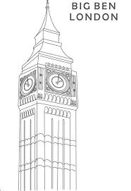 Beautiful Clock Tower Big Ben Colouring Page Coloring