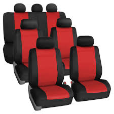 FH Group Neoprene 3 Row Car Seat Covers For SUV VAN TRUCK 7 Seaters Red
