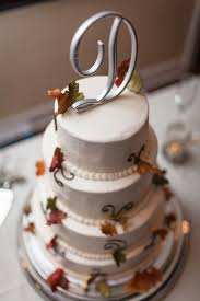Autumn Leaves On Smooth Iced Wedding Cake I Thereddirtbride See More Of This Initial DecorRustic ToppersRustic