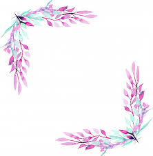Corner Border Frame With Simple Abstract Watercolor Purple And Mint Branches Premium Vector