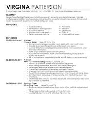 Fast Food Restaurant Resume Cashier Sample And Summary Experience