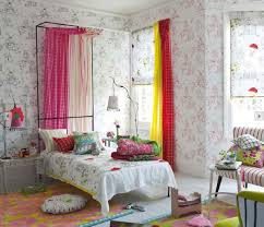 Cute Picture Of Girl Cool Bedroom Decoration Using Red And Yellow Curtain Including Light Grey