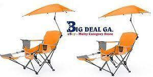 6 sport brella recliner chair orange outdoor folding c