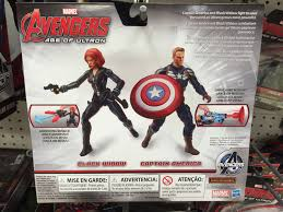Back Of Box Captain America Black Widow Age Ultron Figures Two Pack