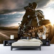 motorrad fototapete stürmischer himmel tapete jungen schlafzimmer foto inneneinrichtungen