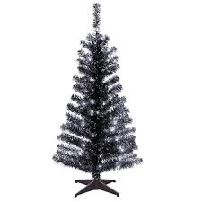 National Tree Company 4 Ft Black Tinsel Artificial Christmas With Clear Lights