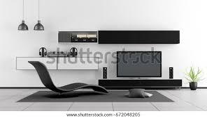 schwarz weiß wohnzimmer mit sitzecke und heimkino