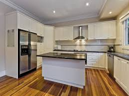 Momentous U Shaped Kitchen With Island Bench In White Paint Colors Also Square Ceramic Tile
