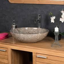 vasque à poser en marbre barcelone ronde grise d 45 cm