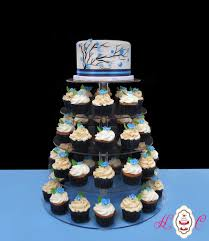 Modern Navy Blue Graphic Tree Wedding Cake And Cupcake Tower By Heavenly Confections Athens