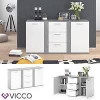 vicco sideboard novelli highboard weiß beton kommode anrichte schrank 2 türen