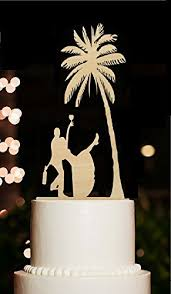 Beach Wedding Cake Toppers Tree Funny Rustic Drunk Bride And Groom For Engagement