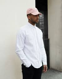 White Shirt Pink Cap Black Jeans Mens Street Style