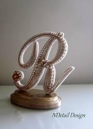 Pearl Monogram Topper Cake Wedding Rustic Weddings Lace Letter R Wood Fall Engraved Custom Beautiful