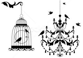 Stock Photo Vector Illustration Vintage Birdcage And Crystal Chandelier With Birds Background