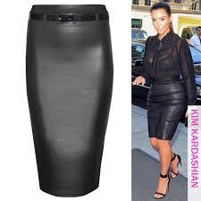 new women bodycon wet look pu stretch waist pencil skirts ladies