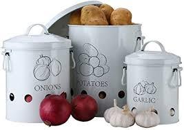 ga homefavor vorratsbehälter set kartoffel vorratsdose metall obst und gemüsekorb zwiebel knoblauchbehälter kartoffeltopf gemüsekorb für küche