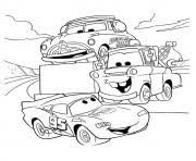 Printable Cars Lightning McQueen Talking With Friends A4 Disney Coloring Pages
