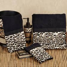 special leopard accessories for chic bathroom idea animal print