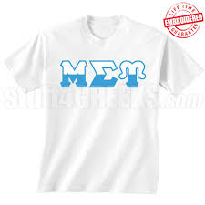Mu Sigma Upsilon Half Letters TShirt White EMBROIDERED With