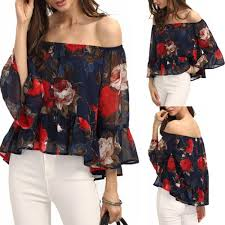 2017 ruffles off shoulder tops women chiffon blouse summer