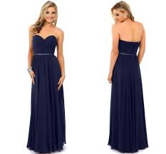 simple navy blue long chiffon prom dresses 2015 sweetheart ribbon