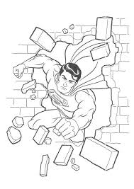 Superman Flying Through Wall Coloring Page