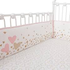 Lambs & Ivy Confetti Heart 4 Piece Crib Bumper Pink Gold Wall s
