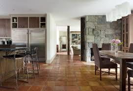 Terracotta Floor Tiles Dining Room Rustic With Eat In Kitchen Crystal Chandeliers