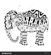 Pin Drawn Elephant Abstract 8