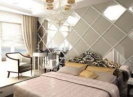 Modern Bedroom Decorating Ideas Square Shaped Framed Wall Mirrors