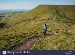 Female hiker on trail to Twmpa Lord Hereford s Knob Black Stock