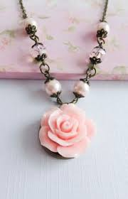 Pink Flower Necklace Bridesmaid Jewelry Rose Necklaces Rustic Wedding Country