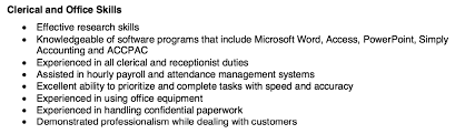Clerical Office Resume Skills