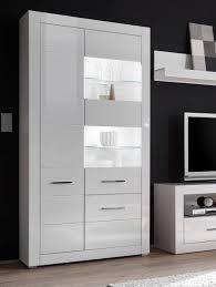 vitrine standvitrine stauraumvitrine bianco 100cm mit beleuchtung led weiß hochglanz