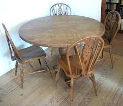 Oak Round Dining Table Vintage Four Chairs Antique Decor Room Sets