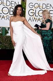Evening Dresses Red Carpet by Taraji Henson White Slim Prom Dress Golden Globes 2016 Red Carpet