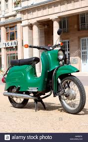 Green Old GDR Motor Scooter Schwalbe Germany Europe