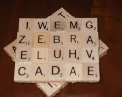 scrabble coasters set of 4 made with 80 real scrabble