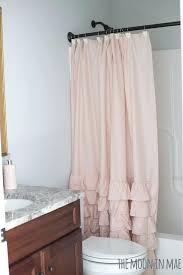 Pink Ruffle Curtains Uk by Shower Curtains Teal Ruffle Shower Curtain Bathroom Ideas