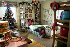 Apartment Bedroom Cheerful Chrismast Tree Side Cute Single Bed Plus Lamp Above Frame For Bohemian
