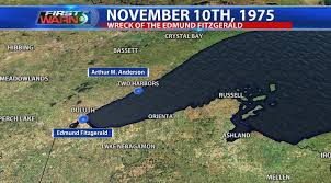 Where Did The Edmund Fitzgerald Sank Map by November 10th 1975 Edmund Fitzgerald Sinks Wnem Tv 5