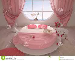 Chambre Avec Lit Rond Lit Rond Design Pour Chambre à Coucher Avec Un Lit Rond Illustration Stock Illustration