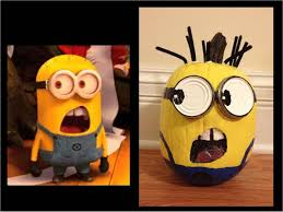 Halloween Faces For Pumpkins Painted by How To Paint A Yellow Minion Pumpkin From Despicable Me 2 Youtube