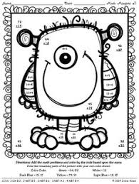 Halloween Multiplication Worksheets Coloring by Double Digit Addition Coloring Worksheets Monsters Double