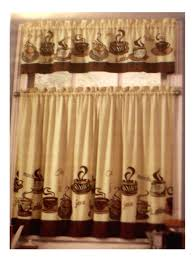 Kitchen Decor Coffee Themed Curtains Tiers Valance Set Complete With Cups And Words