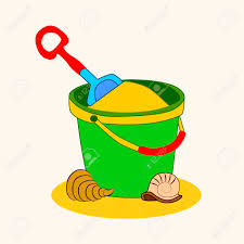 Toy Bucket And Spade Isolated Vector Illustration Of Sandpit Kit In Sand Stock