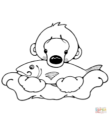 Click The Polar Bear Cub With Fish Coloring Pages