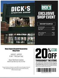 Get Your SEBA Baseball Gear At 20% Off This Weekend!! Print Dicks Sporting Goods Coupons Coupon Codes Blog Top 10 Punto Medio Noticias Fanatics Code Reddit Dover Coupon Codes 2018 Beautyjoint Code November The Rules You Can Bend Or Break And The Stores That Let Dickssporting Good David Baskets Mr Heater Tarot Deals Aldi 5 Off Ninja Restaurant Nyc Official Web Site Dicks Park Exclusive Shop Event Calendar Meeting List Additional Coupons 2016 Bridesburg Cougars Add A Fitness Tracker In App Apple