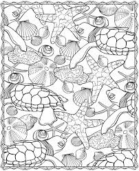 Turtle Starfish And Seashell Coloring Page
